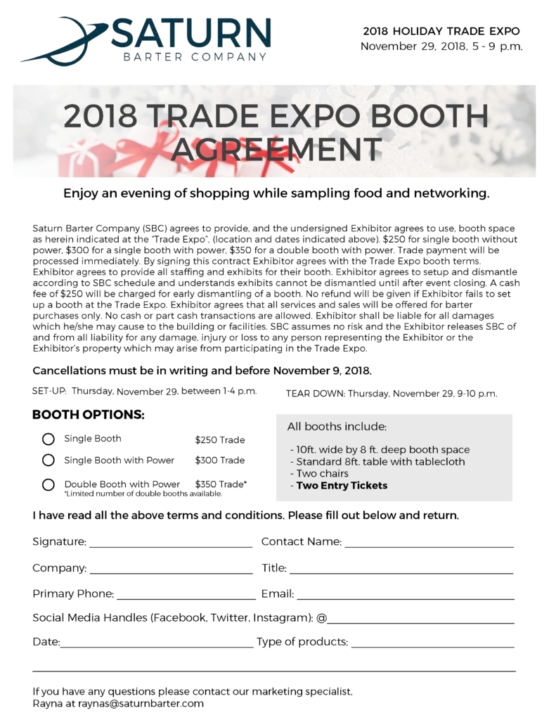 2018 Booth Agreement 081518 Saturn Barter Company